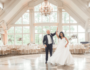A bride and a groom share a dance before their guests arrive | Elegant Music Group - EMG
