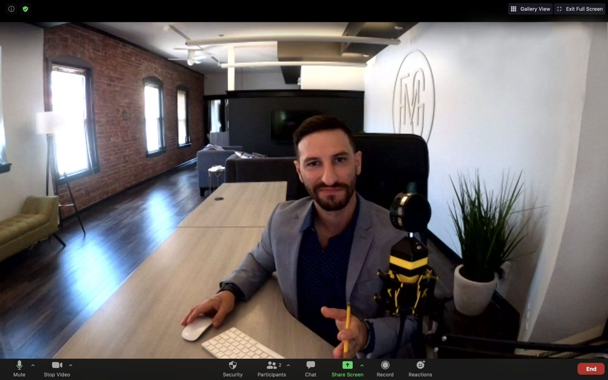 Bryan Festa holding a virtual meeting | Elegant Music Group - EMG