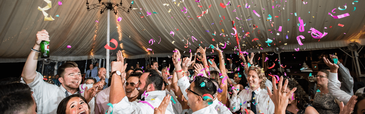 Confetti falls and wedding guests party | Elegant Music Group - EMG